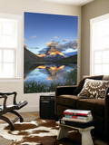 Switzerland, Valais, Zermatt, Matterhorn (Cervin) Peak and Riffel Lake Wall Mural by Michele Falzone