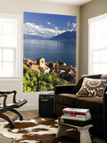 Switzerland, Vaud, Lavaux Vineyards, St; Saphorin Village and Lac Leman / Lake Geneva Wall Mural by Michele Falzone