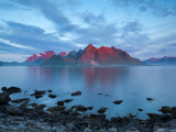Flakstad Mountain Range Illuminated by Midnight Sun, Lofoten Islands, Norway Photographic Print by Doug Pearson