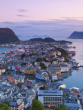 Elevated View over Alesund at Dusk, Sunnmore, More Og Romsdal, Norway Photographic Print by Doug Pearson