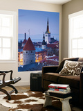 Estonia, Tallinn, Troompea Area, Old Town View from Troopea, Dusk Wall Mural by Walter Bibikow