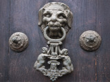 Peru; a Knocker Decorates the Wooden Doors of Lima Cathedral; Photographic Print by Nigel Pavitt