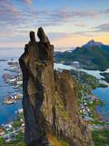Rock Climbers Scale the Famous Svolværgeita, Svolvaer, Lofoten, Nordland, Norway Photographic Print by Doug Pearson