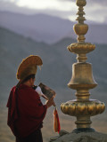 Buddhist Lama, Making the Call to Prayer, Thikse Monastery, Ladakh, North West India Photographic Print by Paul Harris