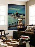 Hungary, Budapest, Parliament Buildings, Chain Bridge and River Danube Wall Mural by Michele Falzone