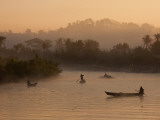 Myanmar, Burma, Mrauk U; Early Morning Mist Rising on the Aungdat Creek Photographic Print by Katie Garrod