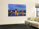 Switzerland, Lucern (Luzern), Chapel Bridge and River Reuss Wall Mural by Michele Falzone