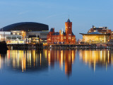 Uk, Wales, Cardiff, Cardiff Bay, Millennium Centre, Pier Head, Welsh Assembly Building Fotoprint av Christian Kober