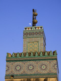 A Minaret with the Early Moon in the Background; Old Medina in Fes, Morocco Photographic Print by Julian Love