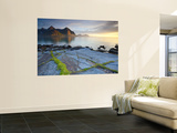 Coastal Landscape Illuminated by Mightnight Sun, Flakstad, Flakstadsoya, Lofoten, Norway Wall Mural by Doug Pearson