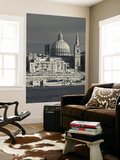Malta, Valletta, Skyline with St; Paul's Anglican Cathedral and Carmelite Church from Sliema Wall Mural by Walter Bibikow