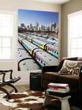 Train Carriages at Park Station with City Skyline in Background, Johannesburg Wall Mural by Ian Trower