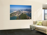 Brazil, Rio De Janeiro, Cable Car on Sugar Loaf Mountain and Vermelha Beach, Copacabana, Botafogo B Wall Mural by Jane Sweeney