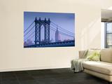 Usa, New York, Manhattan, Manhattam Bridge and Empire State Building Reproduction murale par Alan Copson