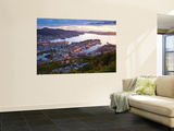 Elevated View over Central Bergen Illuminated at Sunset, Bergen, Hordaland, Norway Wall Mural by Doug Pearson
