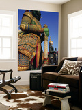 Thailand, Bangkok, Wat Arun, Temple of Dawn, Temple Guardian Statue Wall Mural by Steve Vidler