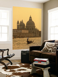 Gondola, Santa Maria Della Salute and Grand Canal at Sunset, Venice, Italy Wall Mural by Jon Arnold