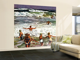 &quot;Surf Swimming,&quot; August 14, 1948 Wall Mural  Large par John Falter