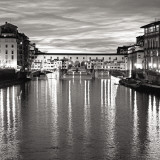 Golden Ponte Vecchio Black and White Prints by Rita Crane