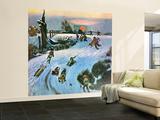 """""""Sledding by Sunset,"""" December 18, 1948 Wall Mural – Large by John Falter"""