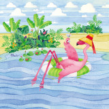Martini Float Flamingo Prints by Paul Brent