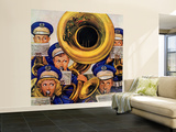 """March Band at Football Game,"" October 19, 1946 Wall Mural – Large by Stevan Dohanos"