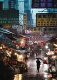 Christophe Jacrot - Market under the Rain, Honk Kong, c.2009 Plakát