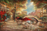 Riverwalk Caf&#233; Print by Ruane Manning