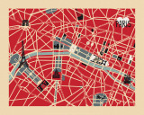 Vintage Map of Paris Posters van Ladyleia