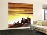 """Tractors at Sunset,"" October 3, 1942 Wall Mural – Large by Arthur C. Radebaugh"