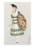 Woman with Parasol, Fashion Illustration Posters