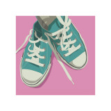 Lowtops (blue on pink) Giclee Print by John Golden