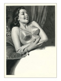 Happy Lady with Brassiere Prints