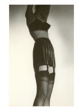Woman in Black Garter Belt and Pointy Bra Posters