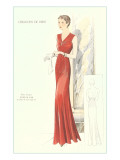 Haute Couture Evening Gown Giclée-Premiumdruck