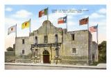 Alamo with Six Flags, San Antonio, Texas Prints