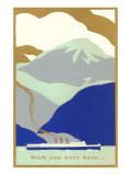 Art Deco Ocean Liner, Wish You Were Here Posters