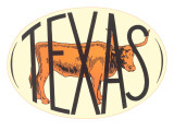 Texas Decal with Longhorn Steer Poster