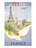 Airplane Flying over Paris, France Poster