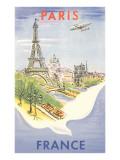 Airplane Flying over Paris, France Giclée-Premiumdruck