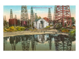 Reflections of Oil Wells in Lake of Oil Prints