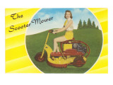 Scooter Mower Demonstrated by Woman in Shorts Prints