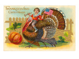 Greetings, Boy Riding Turkey Prints
