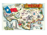 Greetings from San Angelo, Texas, the Lone Star State, Map Poster