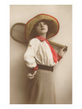 Devil-May-Care Woman Tennis Player in Hat Posters