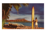 Man with Surfboard at Diamond Head Poster
