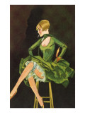 Smoking Flapper in Green Cocktail Dress Prints