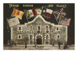 Texas under Six Flags, Alamo, San Antonio, Texas Print