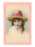 Victorian Girl in Straw Hat Lámina
