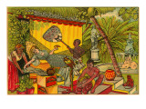 Lady in Hammock with Punkawallah Print